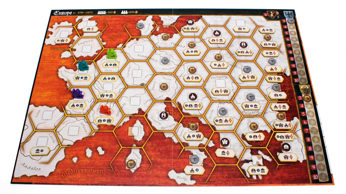Game board with orange and white map of old Europe with hexagon borders and icons