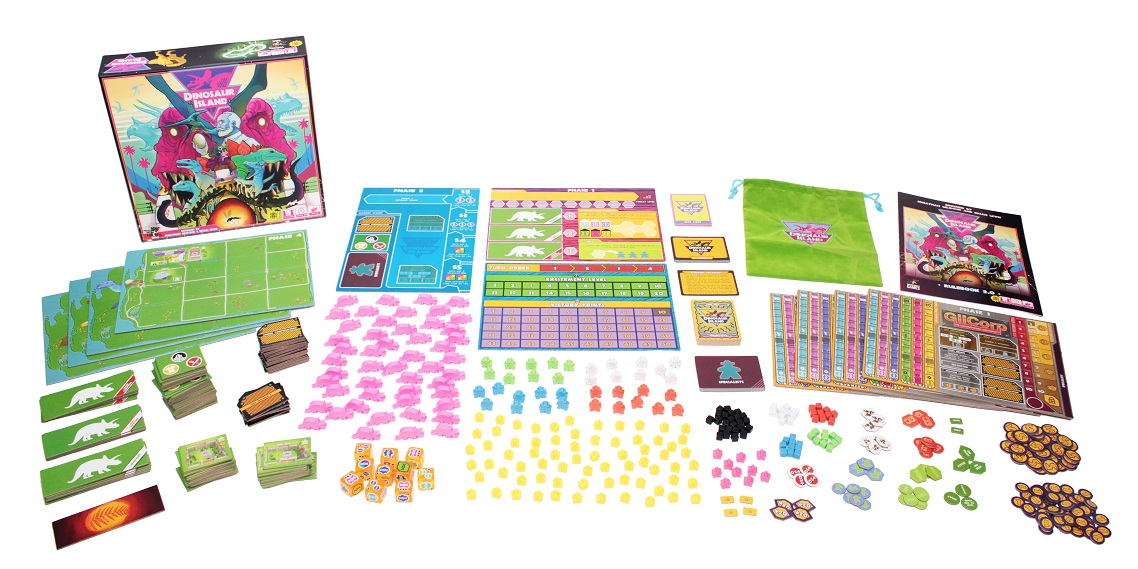 An image of the components from Dinosaur Island laid out to show the contents of the box.