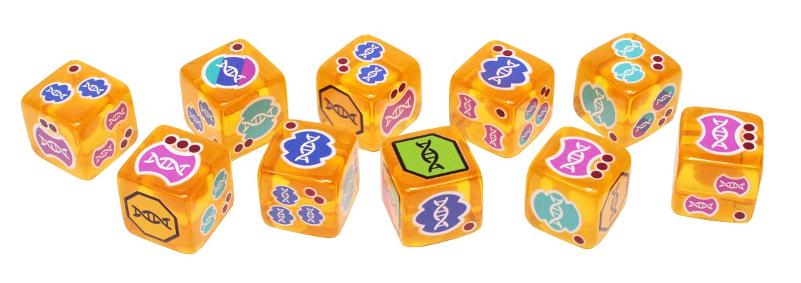 A spread of orange translucent dice featuring symbols of DNA helixes.