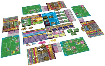 The game of Dinosaur Island and all its boards set up for a game session.