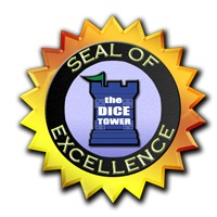 The Dice Tower Seal of Excellence, a golden seal featuring the Dice Tower's logo in the center.