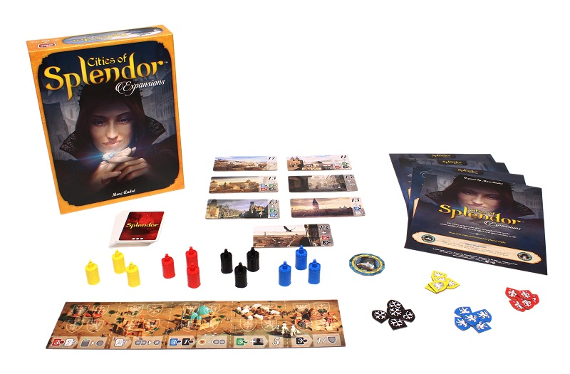 Cities of Splendor game components laid out, including board game box, board game pieces, rulebook, tokens, player cards, and game board