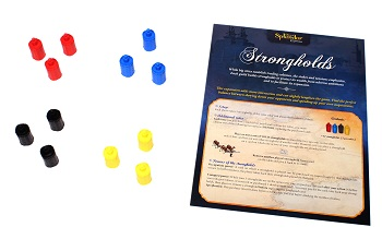 four sets of game tokens, in the colors of yellow, blue, red, and black, next to the game's rulebook