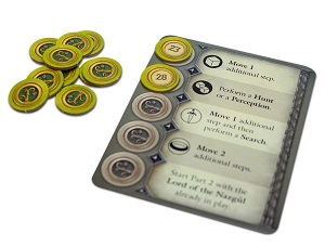 game cards next to a stack of tokens, with a few tokens placed on the game card