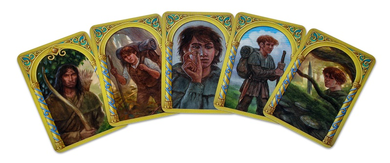 five game cards spread out, with their cardbacks depicting artwork of game characters
