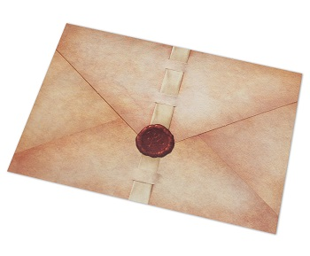 game envelope, sealed with a red wax seal