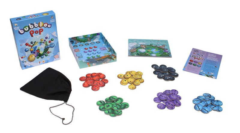 all game components of Bubblee Pop game, including game box, tokens, game board and rulebook