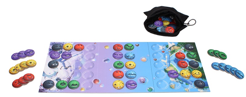 game board with multicolored tokens arranged around and on the board, next to bag of game tokens
