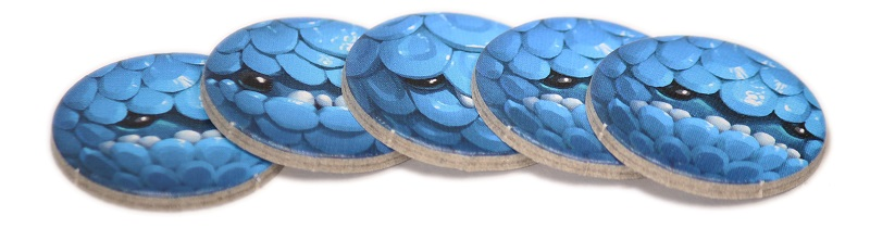 closeup of stacked blue game tokens