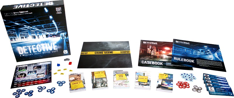An image of the components from Detective A Modern Crime Board Gane to display what the box contains.