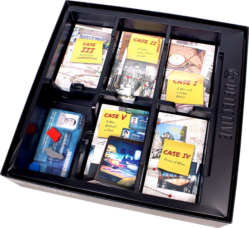 An image of the Detective box with the various case decks slotted into the box insert.