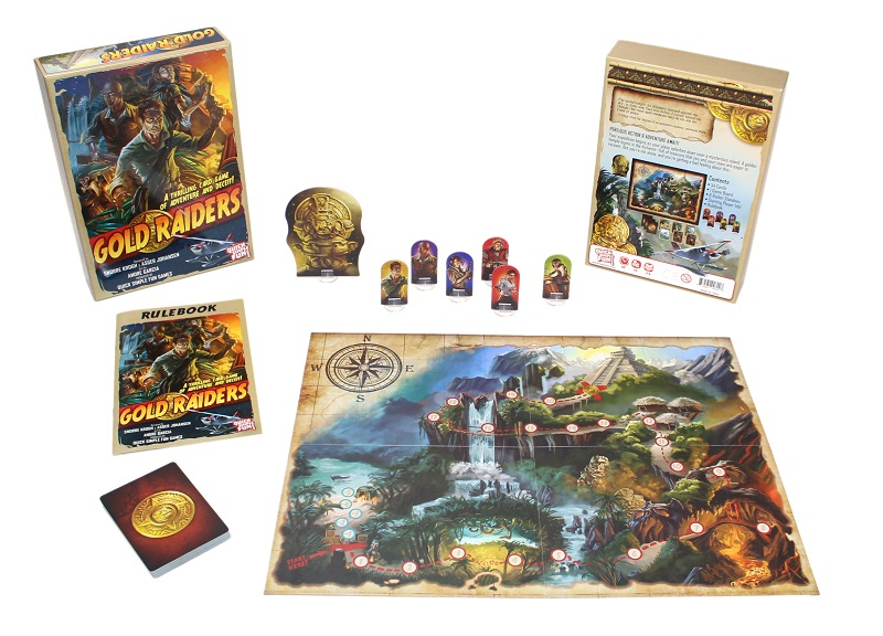 game components spread out on display, including board game box, tokens, game board, cards, miniatures, and rulebooks