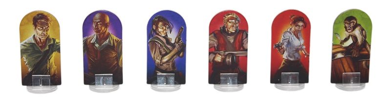 six game board pieces, depicting different characters from the game; background colors in the shades of yellow, purple, blue, red, and green