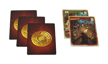 three game cards turned over to show their cardbacks, next to two face-up game cards, one depicting the word 'Bandits!'