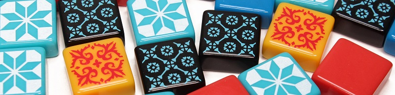 Group of multi-colored plastic azulejos tiles