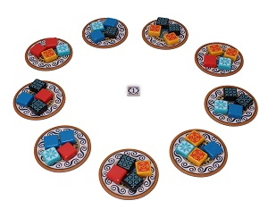 Multiple groups of azulejos tiles on circle punchboard tiles positioned in a large circle