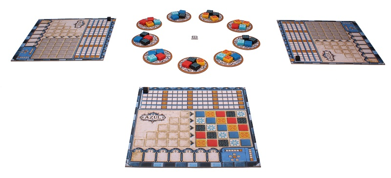 Basic three player game setup with playerboards, plastic azulejos tiles, and other components