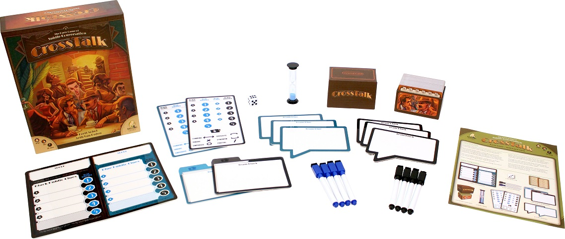The various components of Crosstalk laid out to display the contents of the box.
