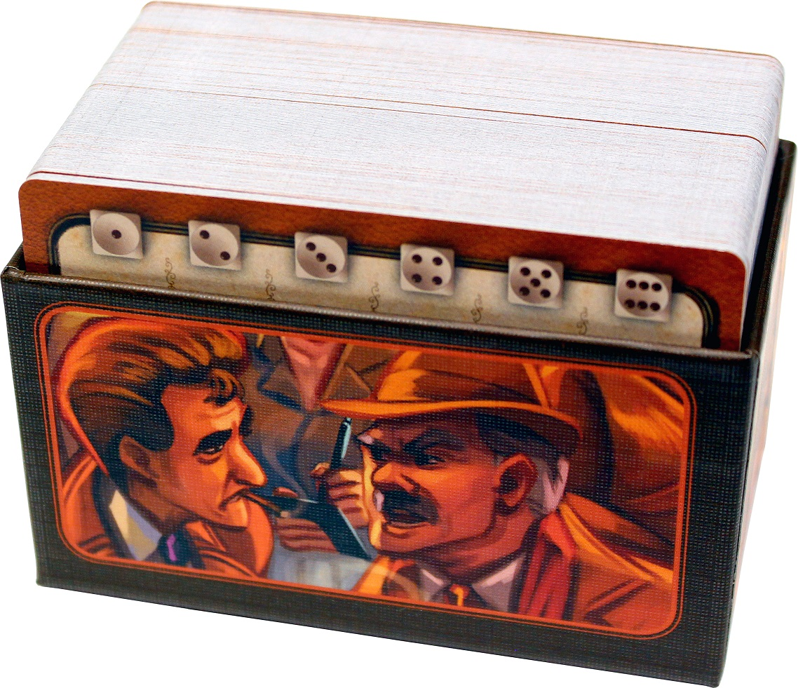 Image of the container for the Crosstalk cards. A stack of cards nestled into a cardboard container featuring art from the game.