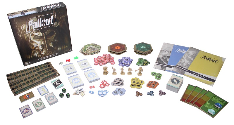 The components of the board game Fallout laid out to display the contents of the box.