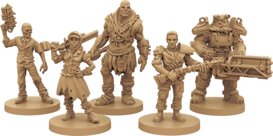 Rendered image of the miniatures from the Fallout boardgame.