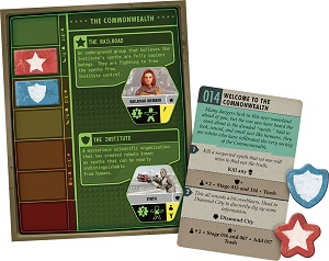 Various cards and board setups from the Fallout board game.