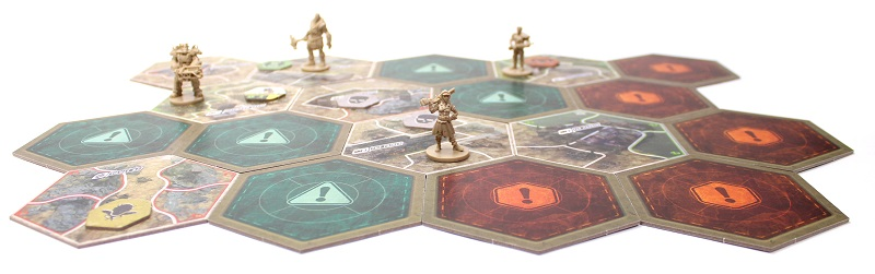 Image of the game board setup with tokens and player miniatures.