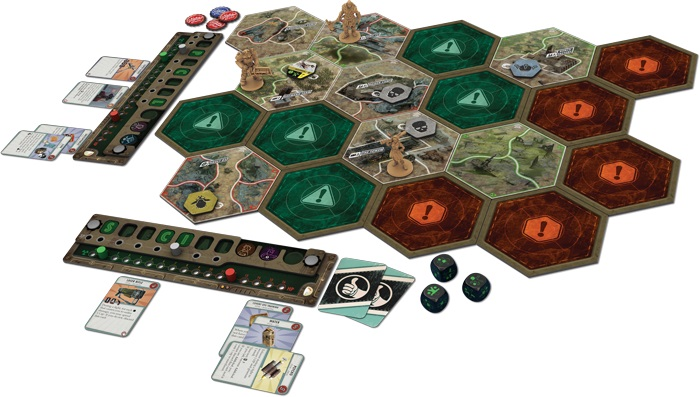 Image example of the game board setup fo the Fallout board game.