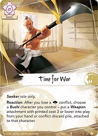 Closeup of a 'Time for War' card