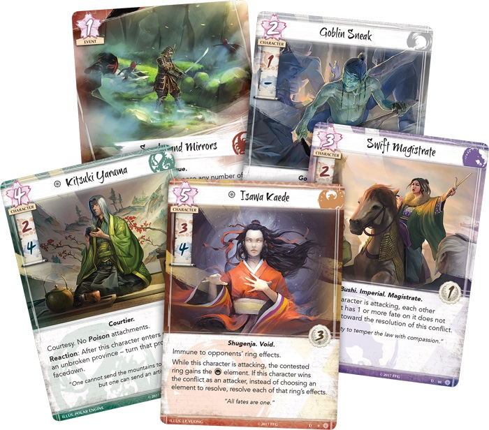 Closeup of five cards from the game, including character cards
