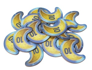 pile of crescent moon-shaped tokens