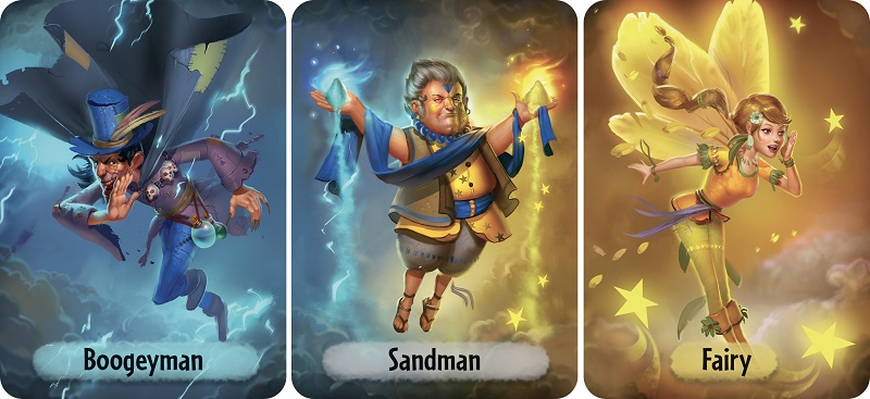 three cards from the game, with the artwork depicting different characters