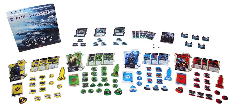The components for Cry Havoc Aftermath laid out to display the contents of the box.