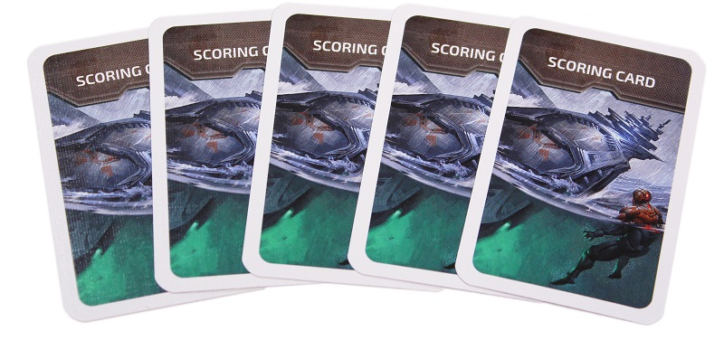 A spread of cards from Cry Havoc Aftermath featuring the words Scoring Card.