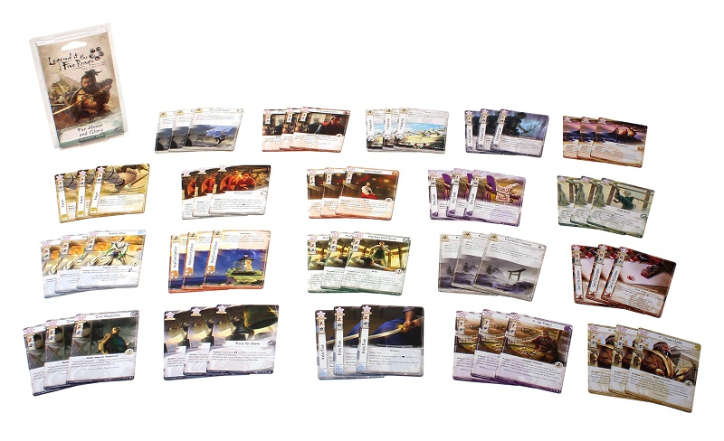 The twenty groups of three cards contained within the game and the For Honor and Glory Dynasty Pack box, all spread out on display