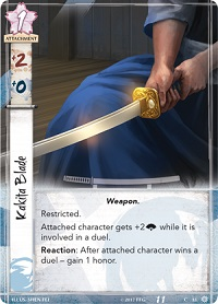 Closeup of a sword's weapon card from the game
