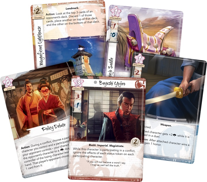 Closeup of five cards from the game, including two character cards, a weapon card, a policy debate card, and a landmark card