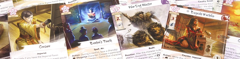 Closeup of several cards from the game