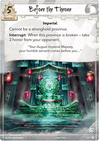 closeup of a game card titled 'Before the Throne' with an illustration of a jade throne
