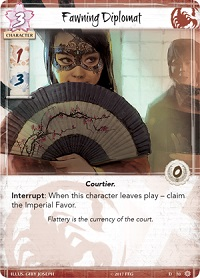 closeup of a card titled 'Fawning Diplomat' with an illustration of a woman wearing a mask and holding a paper fan in front of her face