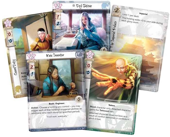 five game cards depicting different characters from the game