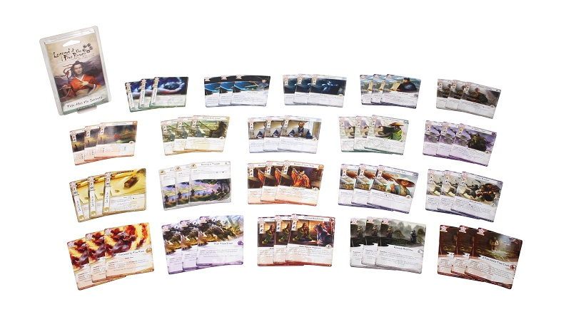 all components of game laid out, including the plastic packaging of game as well as numerous cards in sets of three