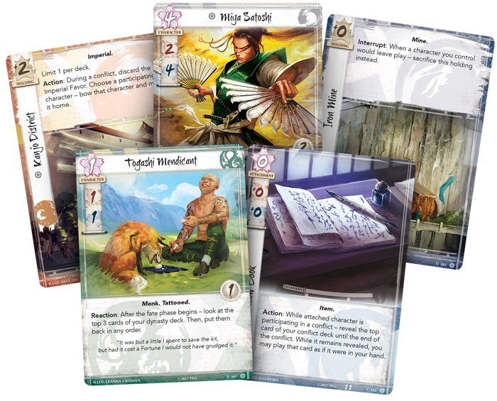 Closeup of five cards from the game, including two character cards, two landscape cards, and an item card
