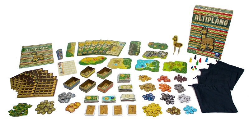 Altiplano box, game boards, rulebook, tokens, punchboard alpaca, drawstring bags, and cards on display