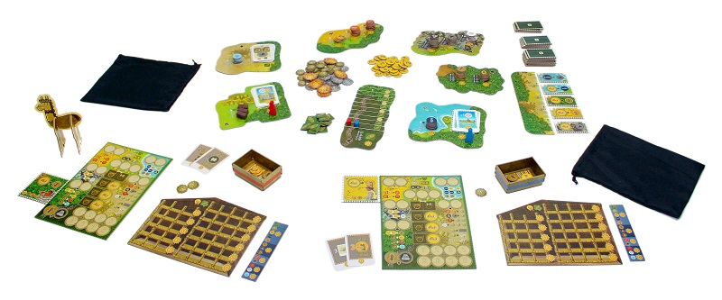 Two player game setup with all components