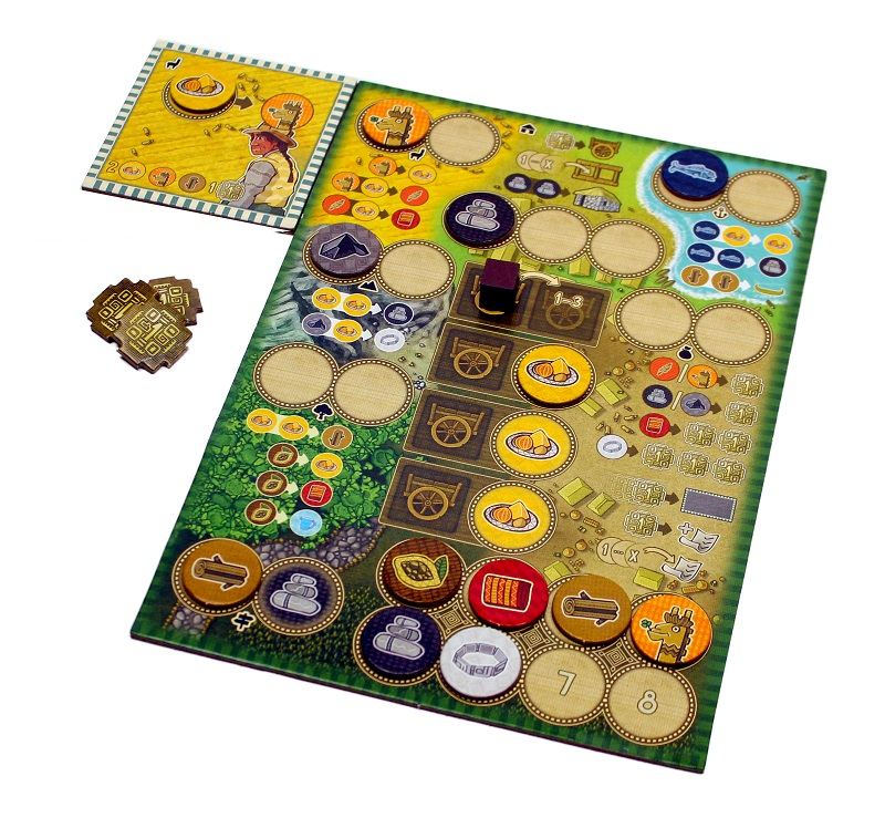 Player board with resource tokens