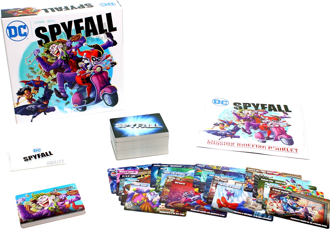 Spyfall: DC game box, rulebook, location cards, and player cards on display