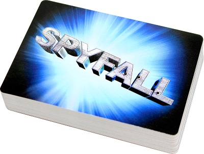 Stack of location cards with Spyfall logo on the back