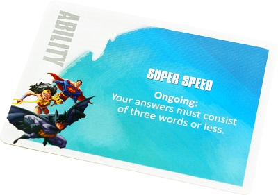 Ability card with Wonder Woman, Batman, and Superman art and Super Speed ability
