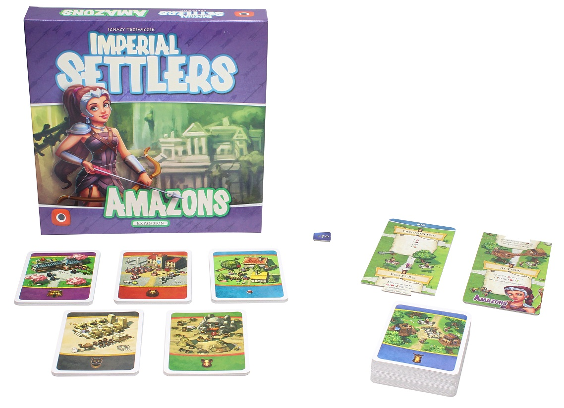 all components of Imperial Settlers Amazon Expansion laid out, including game box, rulebook, game cards, and token